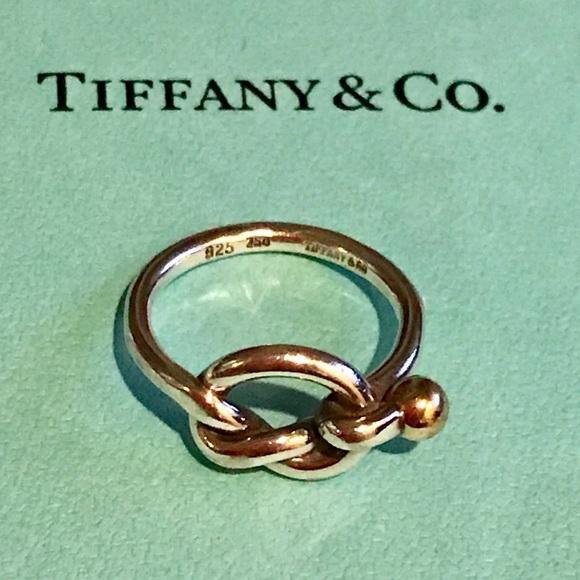 4f16a0ff9 Tiffany & Co. 925 & 18K Gold Love Knot Ring Size 5.  M_5c7e2b70fe5151a5c0a1e286